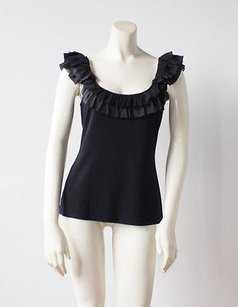 Nanette Lepore Stretch Knit Ruffle Neckline Sleeveless Hs1061 Top Black