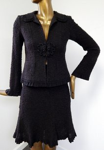 Nanette Lepore Nanette Lepore Ms Brown Black Chunky Knit 2pc Jacket Skirt Suit Usa