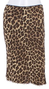 Nanette Lepore Animal Print Leopard Beaded Skirt Brown Animal