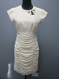 Nanette Lepore Short Sleeves Lined Solid Ruched Sheath 1809 A Dress