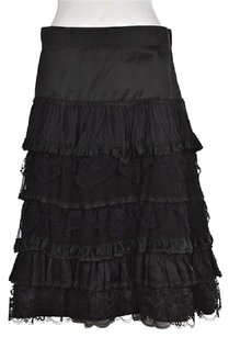 Nanette Lepore Womens Tiered Floral Lace Silk Below Knee Skirt Black