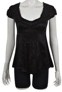 Nanette Lepore Womens Metallic Textured Silk Shirt Top Black
