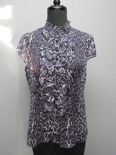 Nanette Lepore Animal Print Silk Button Front 1806a Top navy blue, purple
