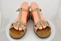 Naot Womens Metallic Ankle Strap 4212 Leather Flats Beige Sandals