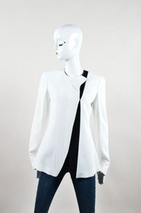 Narciso Rodriguez Black Crepe Two Tone Structured White Jacket