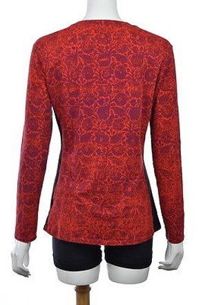 Narciso Rodriguez Womens Red Knit Top Printed Long Sleeve Shirt good