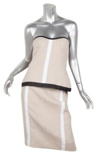 Narciso Rodriguez Narciso Rodriguez Khaki Linen Strapless Stripe Bustier Top Skirt Suit Set 1248