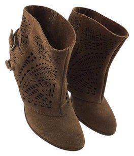 Naughty Monkey Suede Cut Out Ankle Brown Boots
