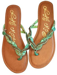 Naughty Monkey Teal Rhinestones Sandals