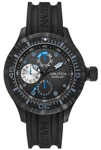 Nautica Nautica Men's N16681G BFD 100 Black Stainless Steel Sport Watch with Silicone Band