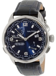 Nautica Nautica Men's NAD19507G NWT 01 Stainless Steel Watch with Leather Band