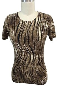 Neiman Marcus Cashmere Animal Print Ss Sweater