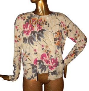 Neiman Marcus Cashmere Collection Multi Floral 2pc Twinset Jacket Shell Sweater