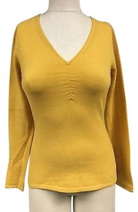 Neiman Marcus Mustard Cashmere Ruched V Neck Fitted 3148a Sweater