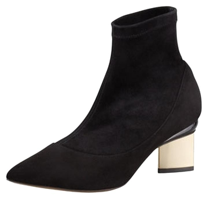 Nicholas Kirkwood Black Cstretch Suede Pointed-toe with Contrast Heels 39 Boots/Booties Size US 8.5 Regular (M, B)