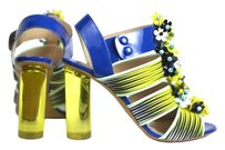 Nicholas Kirkwood Flower Embellished Paten Leather Heels Pumps Designer blue yellow Sandals