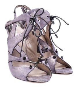 Nicholas Kirkwood Metallic Slingback Open Toe Metallic Lilac Sandals