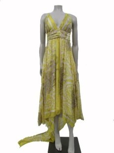 Nicole Miller short dress yellow white Yellow Print Silk Tail Back Evening on Tradesy