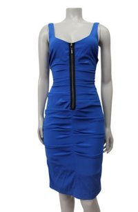 Nicole Miller Front Zip Sleeveless Draped Dress