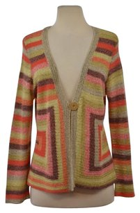 NIC+ZOE Womens Striped Cardigan Linen Long Sleeve Shirt Sweater