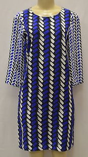 Nieves Lavi short dress Blue Ny Blueblack White Silk Print Tunic Shift 150736e on Tradesy