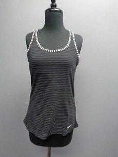 Nike Nike Dri Fit Black And White Stretchy Loose Striped Athletic Tank Sm2641
