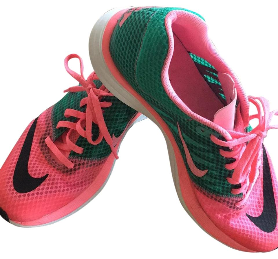 nike pink and green athletic shoes on sale 37