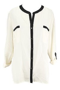 NY Collection Ny Womens Ivory Polyester Top off-white