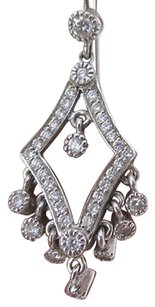 18K White Gold Diamond Set Drop Earrings w/Dangling Diamonds .60 TCW
