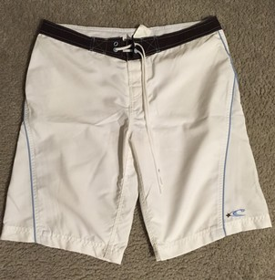 O'Neill White Board Shorts White, Baby Blue, Brown