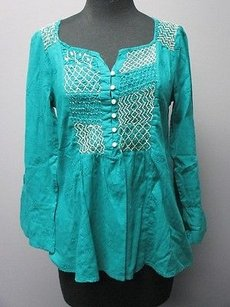 Odd Molly Cotton Long Sleeves Embroidered Detail Sm1834 Top teal green