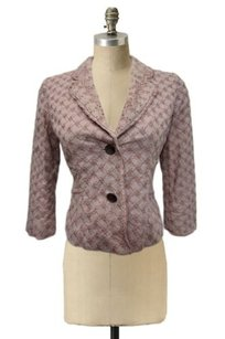 Odille Anthropologie 4p Eyelet Embroidered Mocha Notched Collar Romantic Brown Jacket