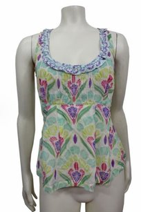 Odille Anthropologie Green Blue Semi Sheer Ruffle Neckline Floral Top Multi-Color