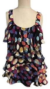 Odille Silk Polka Dot Sleeveless Tiered Side Zip Sma12197 Top Multi-Color
