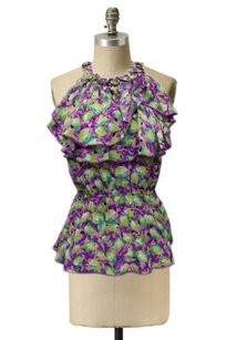 Odille Transposed Tulips By Anthropolgie 0 Picot Trimmed Ruffles Neckline Top purple green