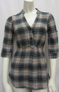 Odille Grey Plaid 100 Cotton 0 Collarless Button Front 80043js1 Tunic