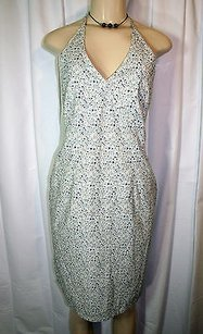 Old Navy short dress Blue White Floral Print Stretch Cotton Halter Sun on Tradesy