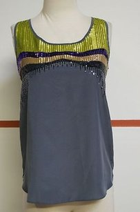 Olive + Oak Dark 100 Poly Sleeveless Sequin Front Fun 9470 Top Grays