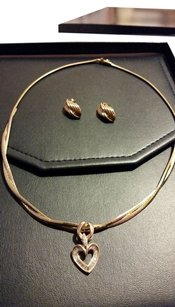 Omega 10k omega necklace and 14k heart pendant with real diamonds