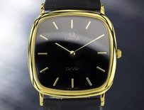 Omega Mens Swiss Omega Deville Gold-plated Quartz Dress Watch 1980s Black Dial 6523