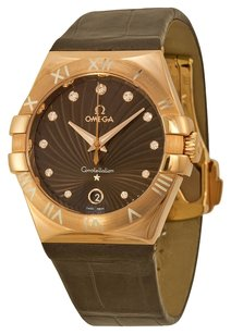 Omega Omega Constellation Brown Dial Brown Leather Ladies Watch 12353356063001