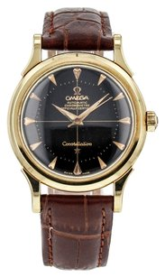 Omega RARE Men's Vintage Constellation Watch in 18K Yellow Gold with Black Pie Pan Dial WTOMY5