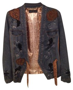 Oppio Denim Floral Snakeskin Beads Womens Jean Jacket