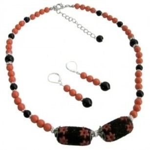Orange Black Combo Jewelry Swarovski Pearls Set With Kashmiri Bead
