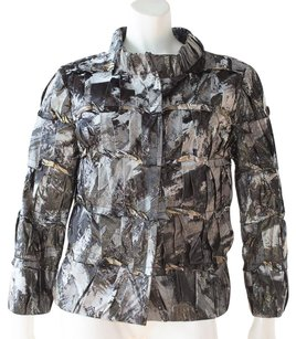 Oscar de la Renta Gray Silk Blend Printed Snap Front Coat Hs832 Multi-Color Jacket