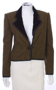 Oscar de la Renta Velvet Couture Wool Black and Gold Blazer
