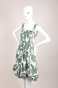 Oscar de la Renta Cream Green Dress