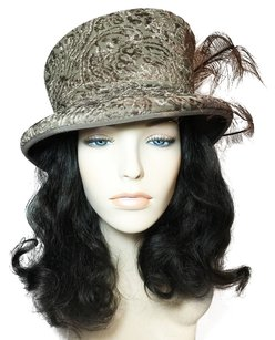Oscar de la Renta Dark Taupe Organza Brocade Modifed Tophat; All-Season [ HeavenlyHats ]