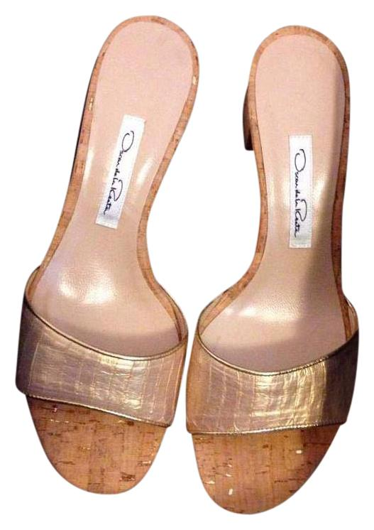 Oscar de la Renta Gold Slip-on Sandals Size US 9 Regular (M, B)