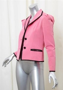 Oscar de la Renta Oscar De La Renta Womens Pink Long-sleeve Two-button Blazer Jacket